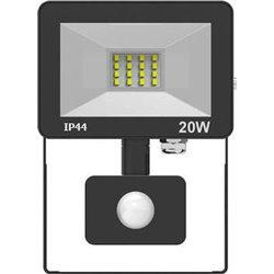 Προβολέας LED SMD Αλουμινίου Slim Στεγανός 20W 1600Lm IP44 4000K με Ανιχνευτή Αισθητήρα Κίνησης Φωτοκύτταρο