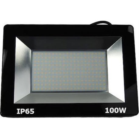 Προβολέας LED 100W SMD Αλουμινίου Slim Στεγανός 7000Lm IP65 4000K