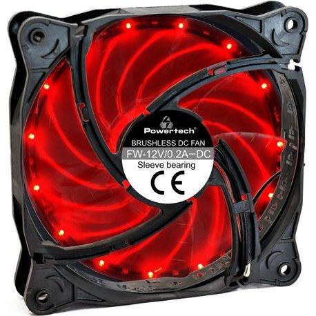 POWERTECH LED ανεμιστήρας PT-908 120mm 3pin/molex RED