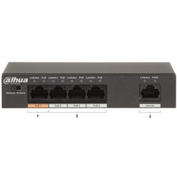 Dahua PFS3005-4ET-60 4 Ports Fast Ethernet/1 Fast Ethernet Uplink Port POE Switch 60W