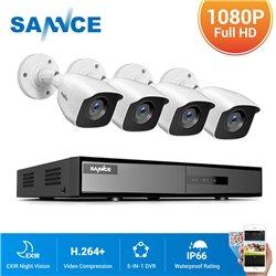 SANNCE CCTV SET 1080p 5σε1 DVR DN81BL 8ch + 4x SANNCE C51EQ 1080p