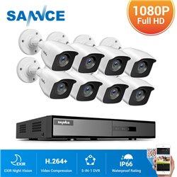 SANNCE CCTV SET 1080p 5σε1 DVR DN81BL 8ch + 8x SANNCE C51EQ 1080p