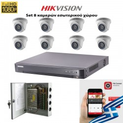 HIKVISION SET 2MP DS-7208HQHI-K1 + 8 ΚΑΜΕΡΕΣ DS-2CE56D0T-IRPF