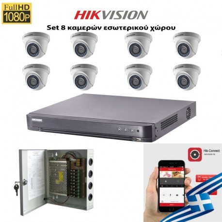 HIKVISION SET 2MP DS-7208HQHI-K1 + 8 ΚΑΜΕΡΕΣ DS-2CE56D0T-IRP