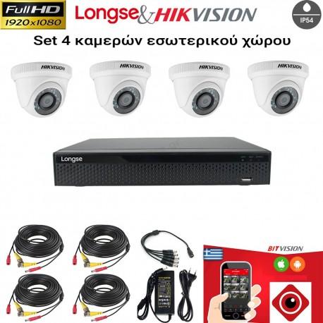 LONGSE & HIKVISION SET 2MP(1080P) XVR2004HD+ 4 ΚΑΜΕΡΕΣ DS-2CE56D0T-IRPF