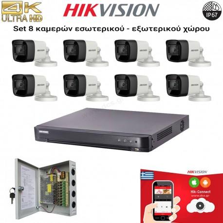 HIKVISION SET 8MP(4K UHD) DS-7208HTHI-K2 + 8 ΚΑΜΕΡΕΣ DS-2CE16U1T-ITF