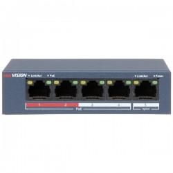 HIKVISION DS-3E0105P-E/M 4 Ports Fast Ethernet/ 1 Fast Ethernet Uplink Port POE Switch 35W