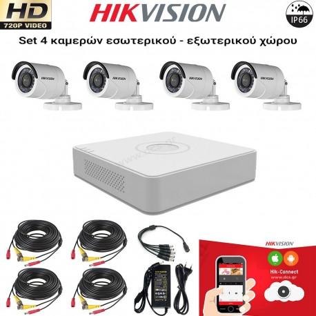 HIKVISION SET 1MP(720P) DS-7204HGHI-F1 + 4 ΚΑΜΕΡΕΣ DS-2CE16C0T-IRPF