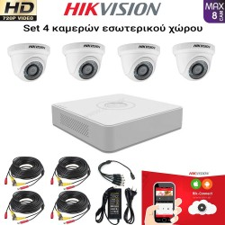 HIKVISION SET 1MP(720P) DS-7108HGHI-F1 + 4 ΚΑΜΕΡΕΣ DS-2CE56C0T-IRPF