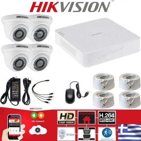 HIKVISION SET 1MP(720P) DS-7104HGHI-F1 + 4 ΚΑΜΕΡΕΣ DS-2CE56C0T-IRPF