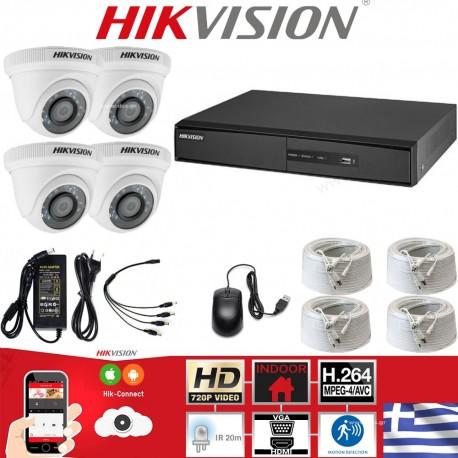 HIKVISION SET 1MP(720P) DS-7204HGHI-F1 + 4 ΚΑΜΕΡΕΣ DS-2CE56C0T-IRPF